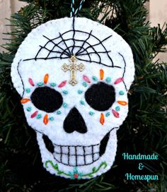 Day Of The Dead Sugar Skull Felt Ornament