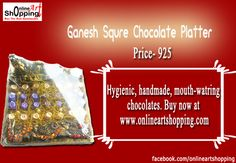 Hygienic, handmade, mouth-watring  chocolates. Buy now at  www.onlineartshopping.com     #chocolateplatter #chocolate_gifts #chocolatebasket #chocolate_tray #chocolates #chocolate_platter #chocolate_giftwrap