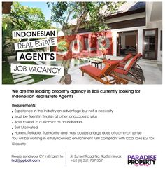 """INDONESIAN"" Real Estate agents wanted – positions available as sales agents now for Paradise Property Group.  For an appointment or further information please send your CV to hrd@ppbali.com  #indonesian #realestateagent #propertyagent #bali #agentswanted #salesagents #baliwork #balijob #ppg #paradisepropertygroup"