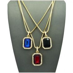 3 Chain Set: Red Black And Blue Iced Out Gems – DatNewIce