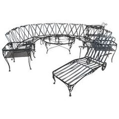 Woodard Patio Set Chantilly Rose Pattern 11 Pieces Wrought Iron Outside Furniture