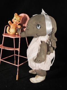 TINKER TOY  one of a kind elephant by doll artist Jan Shackelford
