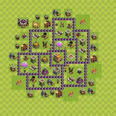 Diseño de aldea (base) para defensa (trofeos / copas) Ayuntamiento nivel 7, variante 84