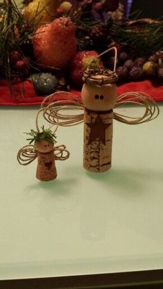 Fun and Easy Christmas Crafts for Kids to Make - Wine Cork Ornaments - DIY Christmas Ideas - Wine Cork Ornaments, Diy Christmas Ornaments, Homemade Christmas, Christmas Angels, Simple Christmas, Christmas Decorations, Christmas Tree, Angel Ornaments, Snowman Ornaments