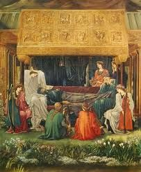The Last Sleep of Arthur in Avalon by Sir Edward Burne-Jones (Museo de Arte de Ponce) - Pre-Raphaelite King Arthur Legend, Legend Of King, Pre Raphaelite Paintings, Mists Of Avalon, Medieval, Roi Arthur, Pre Raphaelite Brotherhood, Edward Burne Jones, Romanticism
