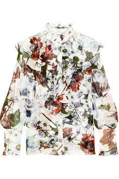 Erdem - Kelsey Ruffled Floral-print Silk-voile Blouse - White - UK12
