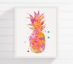 Pineapple Art Print Watercolor Pineapple by MiaoMiaoDesign on Etsy