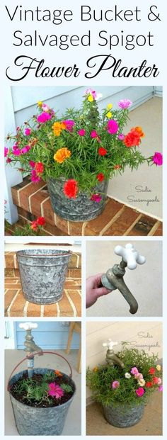 Repurpose a vintage galvanized metal bucket and an antique, salvaged spigot / faucet to create a stunning flower planter for your porch! I used a couple of pipe pieces from the hardware store to finish this, and then planted it with portulaca (moss roses) because they're my favorite. And every Spring, my repurposed planter just explodes with color and life! Wonderful garden upcycle DIY project from #SadieSeasongoods / http://www.sadieseasongoods.com