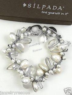 Silpada-Effervescence-Bracelet-Pearl-Quartz-925-Sterling-Silver-B2180-NEW-LW