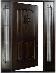 Knotty Alder Front Exterior Wood Entry Door LH Swing In This door is pre-hung and prefinished, and comes as shown with clavos, iron work on the sidlights, and a speak easy on the door. The glass is cleaTr d. Entry Door Hardware, Wood Entry Doors, Barn Doors, Main Door Design, Front Door Design, Modern Front Door, Front Entry, Spanish Front Door, Front Porch