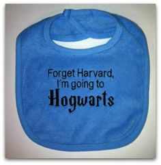 Embroidered Hogwarts Bib. $6.00, via Etsy.
