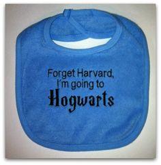 Embroidered Hogwarts Bib. $6.00, via Etsy.
