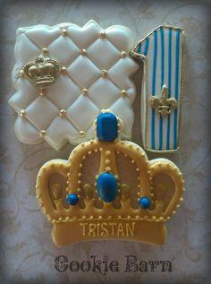 Royal Prince Crown Birthday Decorated Sugar Cookies por CookieBarn