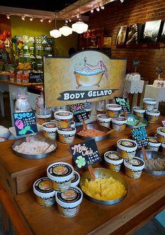 Packaging ice cream boxes Saltspring Soapworks Body Gelato by Andrej Klimo, via Behance