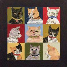 Amazon.com: Nine Lives 26x26 framed art prints cats by Karen Dupre: Artistic Reflections Cat: Posters & Prints