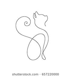 One line cat design silhouette.hand drawn minimalism style vector illustration One line cat design silhouette.Find cat outline Stock Images in HD and millions of other royalty-free stock photos, illustrations, and vectors in the Shutterstock collecti Cat Outline Images, Outline Art, Outline Designs, Body Art Tattoos, Small Tattoos, Cat Tattoos, Cat Tattoo Designs, Cat Design, Wire Art