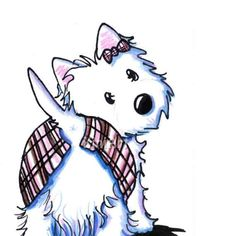 Original Westie Terrier Dog Art Pink Kilt and Bow ACEO