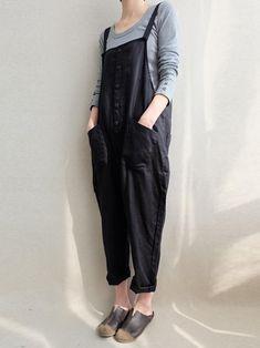 8700f61f2c5a Loose Comfortable Pocket Button Jumpsuit