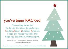 Advent and rack random acts of christmas kindness ideas great rack my december project random acts of christmas kindness pronofoot35fo Image collections