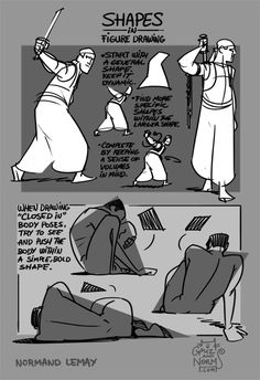 """grizandnorm:Tuesday Tips - SHAPES IN FIGURE DRAWINGLoose, gestural sketching is always appealing and energetic, but sometimes, certain poses aren't as energetic or expressive enough to express through gesture drawing. Drawing with shapes in mind is another way to approach certain poses, especially when the model is wearing loose clothes or when the poses are more """"closed in"""". -n"""