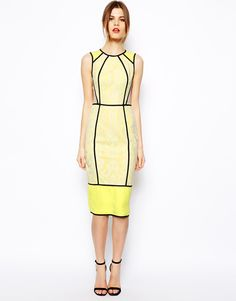 Image 1 ofASOS Piped Lace Pencil Dress
