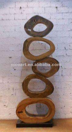 talla de madera moderna interior, estatua de madera