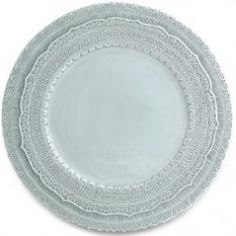 The Finezza Charger adorns an intricate lace design on its border. This charger makes a beautiful serving piece or charger under our Merletto Dinner Plates or Splendore Dinner Plates. Cream Dinner Plates, Charger Plates, Plate Chargers, Blue Design, Teller, Joss And Main, Online Gifts, Home Gifts, Dinnerware
