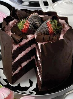 OMG! Dark Chocolate Layer Cake with Strawberry Buttercrem Filling and Hard, Dark Chocolate Shell, Topped with Chocolate Dipped Strawberries