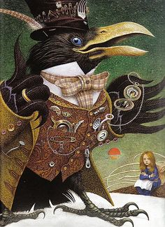 "Crows Ravens:  Illustration for ""Alice in Wonderland,"" by Vladyslav Yerko.  The Crow is a character from ""Through the Looking-Glass, and What Alice Found There,"" by Lewis Carroll."