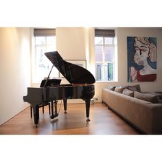 Portrait by Tanya Ling, blinds by Donghia, Grand Piano, Yamaha, design, Susanna Thomas.