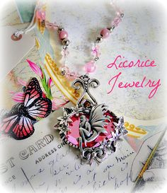 Pink FAIRY Moon Cameo Necklace by LicoriceJewelry,