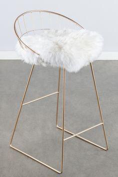 T414FUR-Kylie Sheepskin Bar/ Counter Chair