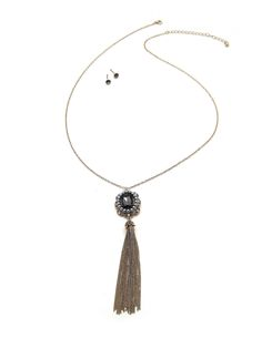 Black-Dia Charm& Tassel Necklace