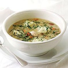 Hearty Chicken Pot Pie Soup--all of the flavors of a classic chicken pot pie, topped with dumplings. #Recipe