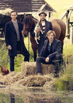 War Horse cast outtake from Vanity Fair September 2011. #Benedict Cumberbatch #Tom Hiddleston