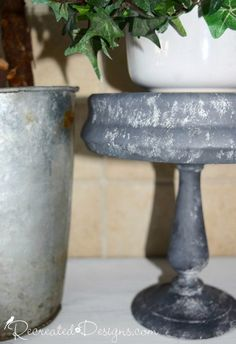 Painting Thrift Store Finds to Look Like Galvanized Metal using Fusion Mineral Paint