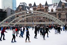 Skating at Nathan Phillips Square - $10 for skate and helmet rentals each.