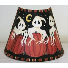 Halloween Decoration Folk Art Hand Painted Night Light READY TO SHIP... ($20) ❤ liked on Polyvore featuring home, home decor, holiday decorations, halloween home decor and pumpkin home decor