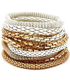 Stackable Mesh & Chain Stretch Bracelet  - Gold & White