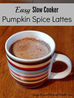 Easy Slow Cooker Pumpkin Spice Lattes - Just 10 minutes prep and 2 hours on high in the crockpot. ~I love making a batch of these pumpkin spice lattes to share with my husband on a weekend.