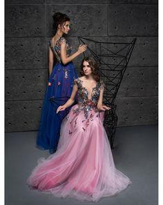 Dlhé ružové   modré luxusné spoločenské šaty Adelise 69ee4774ccc
