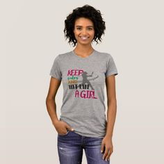 Keep Calm And Hit Like A Girl Grey Crew Neck T T-Shirt  $25.65  by RmsDesigns  - cyo customize personalize unique diy