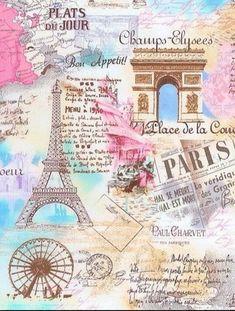 retro Paris Eiffel Tower fabric by Timeless Treasures pastel - Retro Fabric - Fabric - kawaii shop Frühling Wallpaper, Wallpaper Backgrounds, France Wallpaper, Paris Wallpaper Iphone, I Love Paris, Paris Paris, Pink Paris, Paris Map, Poster S