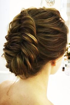 wedding hairstyles length medium hair updo with one braid lenabogucharskaya