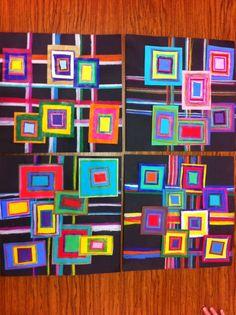 Drip, Drip, Splatter Splash- Concentric design ~ art ed idea for kids but consider it a brilliant approach to fabric piecing. Group Art Projects, Collaborative Art Projects, School Art Projects, Art 2nd Grade, Classe D'art, Ecole Art, Shape Art, Middle School Art, High School