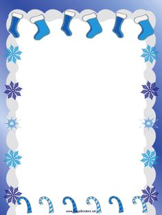 Christmas stockings, candy canes and snowflakes are all tinted in blue in this free, printable, holiday border. Free to download and print.