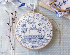 DIY kit Blue wall art Sea blue Hand embroidery Blue Ocean