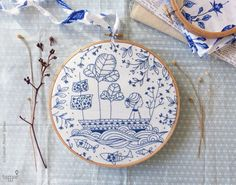 DIY kit, Blue wall art, Sea blue, Hand embroidery - Blue Ocean Embroidery kit…