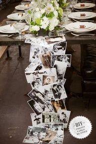 Table runner with pictures