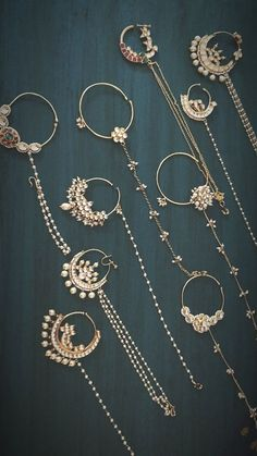 Silver Jewellery - Collane, Anello, s Earrings & Bracelets Indian Bridal Jewelry Sets, Indian Jewelry Earrings, Nose Jewelry, Jewelry Design Earrings, Bridal Jewellery, Antique Jewellery Designs, Fancy Jewellery, Stylish Jewelry, Silver Jewellery